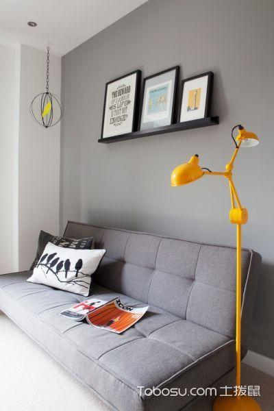 书房灰色沙发混搭风格装饰图片