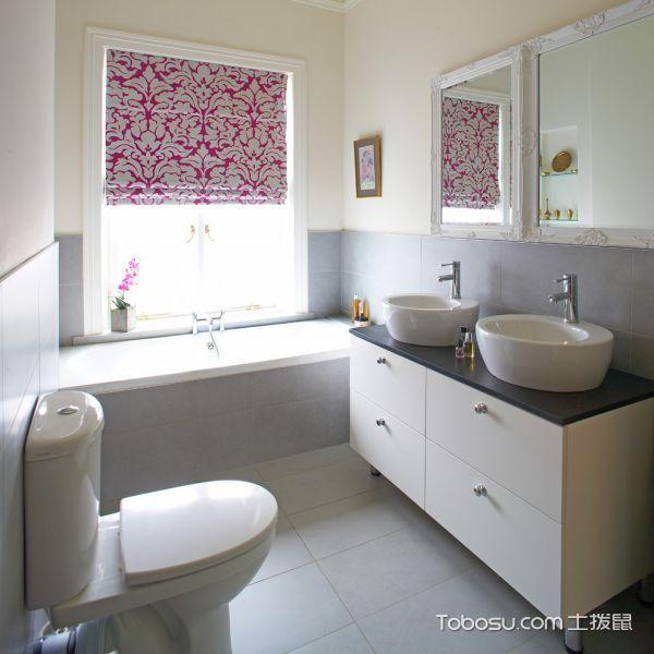 浴室白色背景墙美式风格装潢效果图