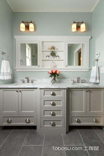 浴室灰色地砖美式风格装饰设计图片