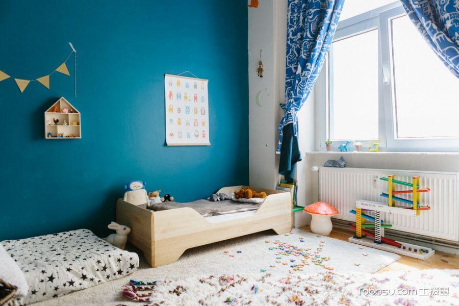 儿童房蓝色窗帘混搭风格装饰图片
