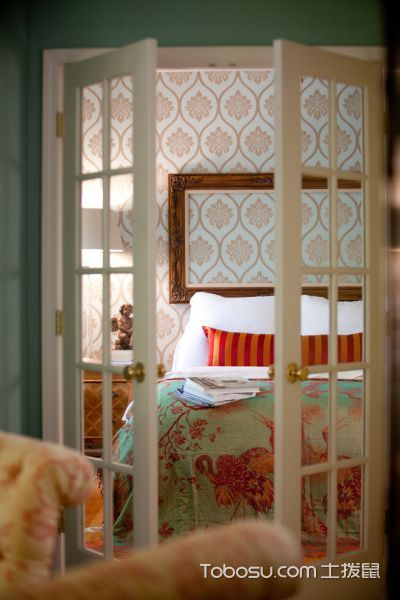 卧室白色隔断混搭风格装潢设计图片