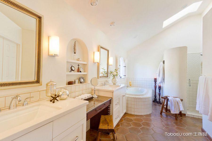 浴室咖啡色地砖美式风格装饰设计图片