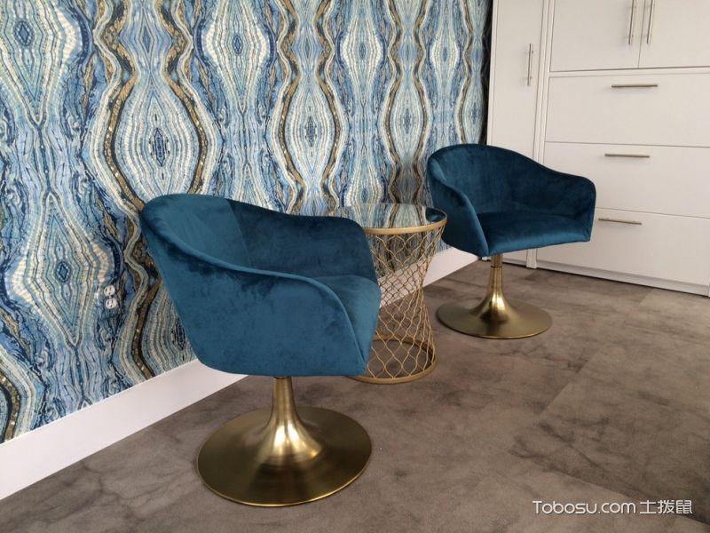 书房蓝色沙发现代风格装潢图片