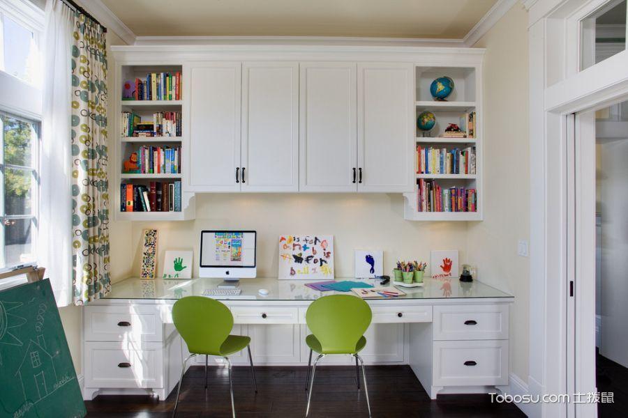 儿童房白色书架美式风格装潢效果图