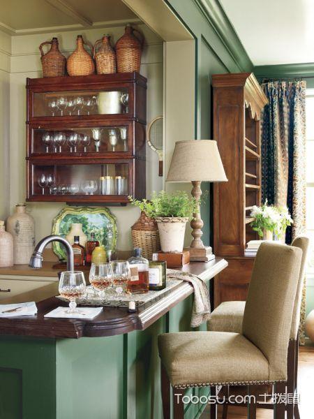 厨房彩色吧台美式风格装潢效果图
