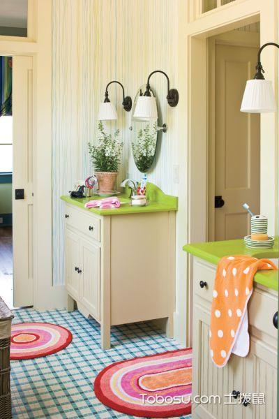 浴室彩色背景墙美式风格装修图片