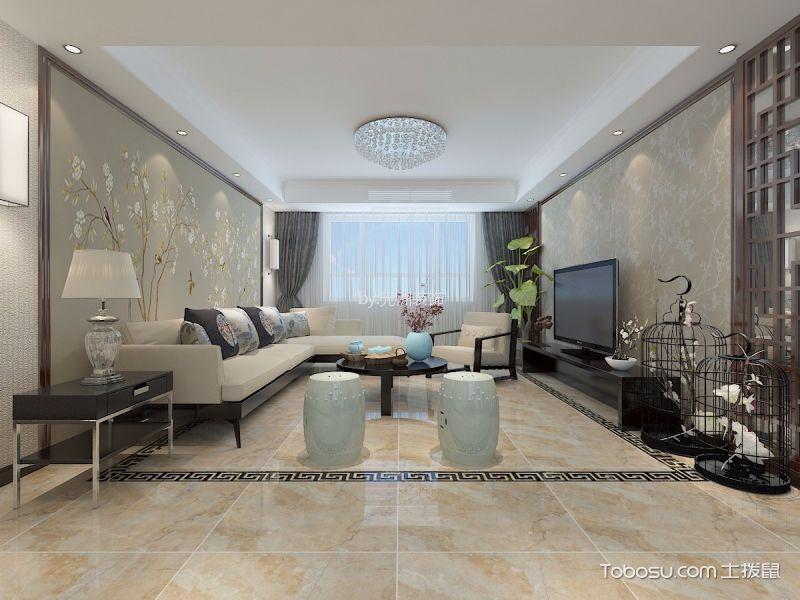 新中式风格三居室130平米装修效果图