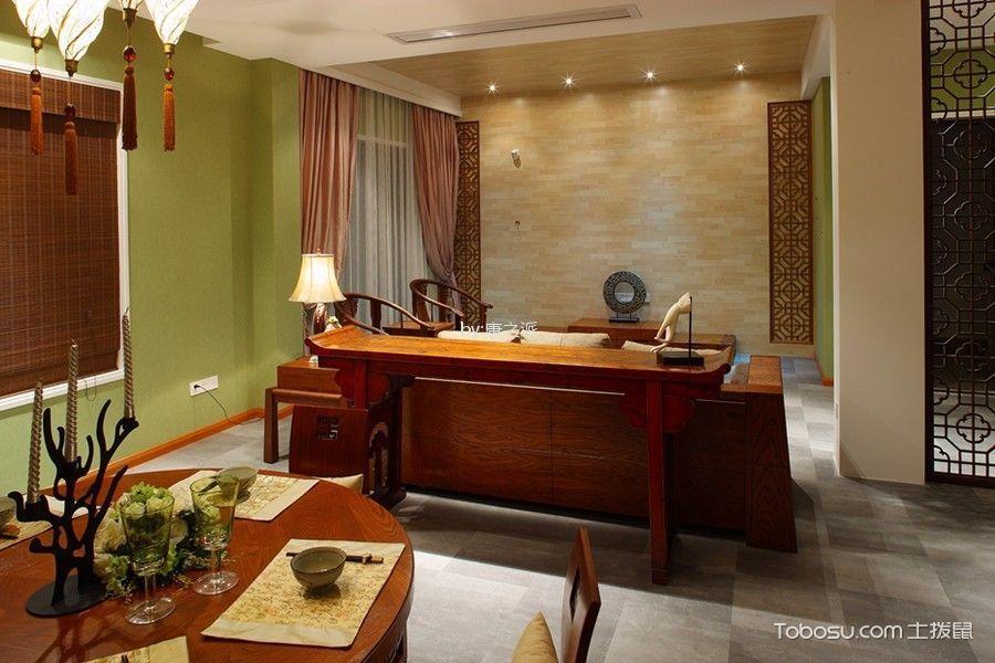 客厅咖啡色博古架中式风格装潢效果图