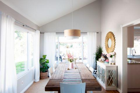 餐厅白色背景墙混搭风格装潢效果图