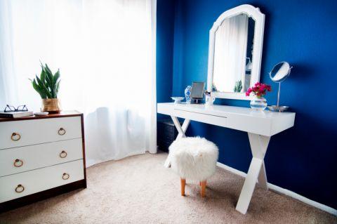 卧室白色梳妆台混搭风格装修设计图片