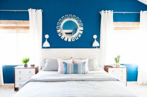 卧室蓝色背景墙混搭风格效果图