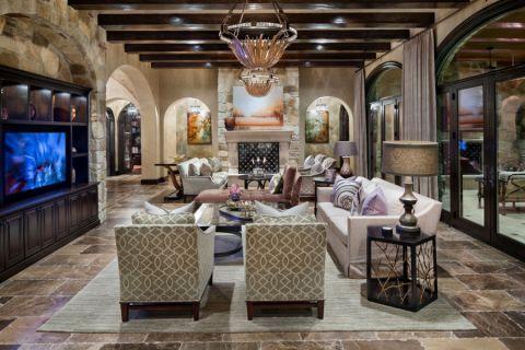 客厅白色地中海风格装修设计图片