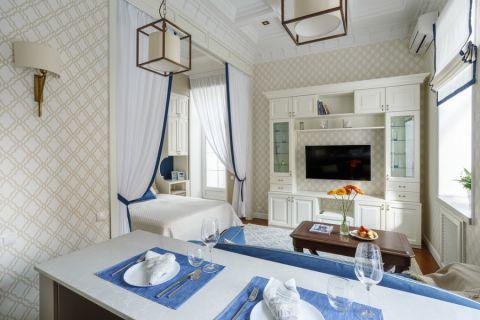 客厅咖啡色美式风格装潢图片