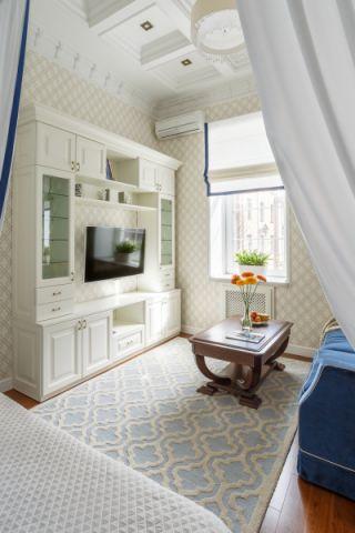 客厅白色美式风格装修设计图片