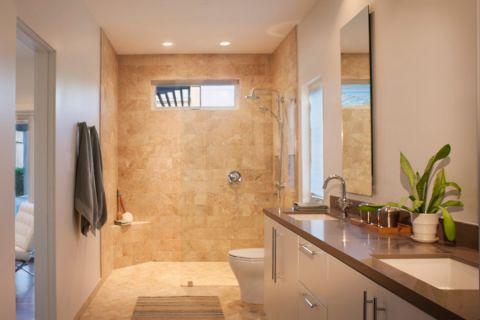 浴室白色现代风格装饰设计图片