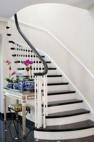 楼梯美式风格效果图大全2017图片_土拨鼠优雅自然楼梯美式风格装修设计效果图欣赏