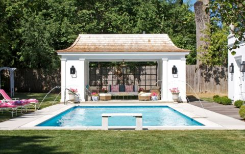 花园泳池美式风格装饰设计图片