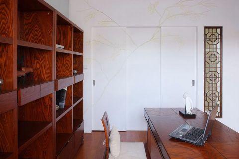 书房咖啡色书架中式风格装潢图片