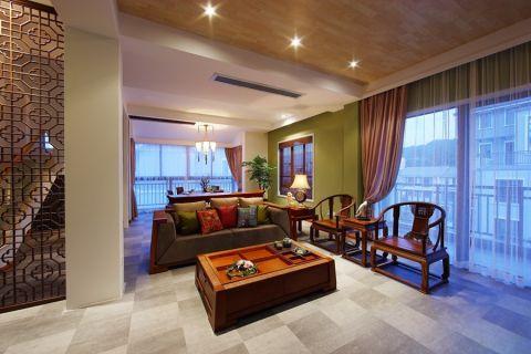 客厅咖啡色沙发中式风格装饰设计图片