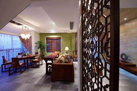 餐厅咖啡色餐桌中式风格装潢设计图片