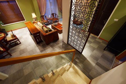 客厅灰色地砖中式风格装修效果图