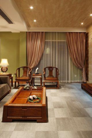 客厅咖啡色细节中式风格装饰效果图