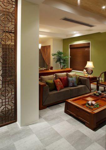 客厅灰色地砖中式风格装修图片