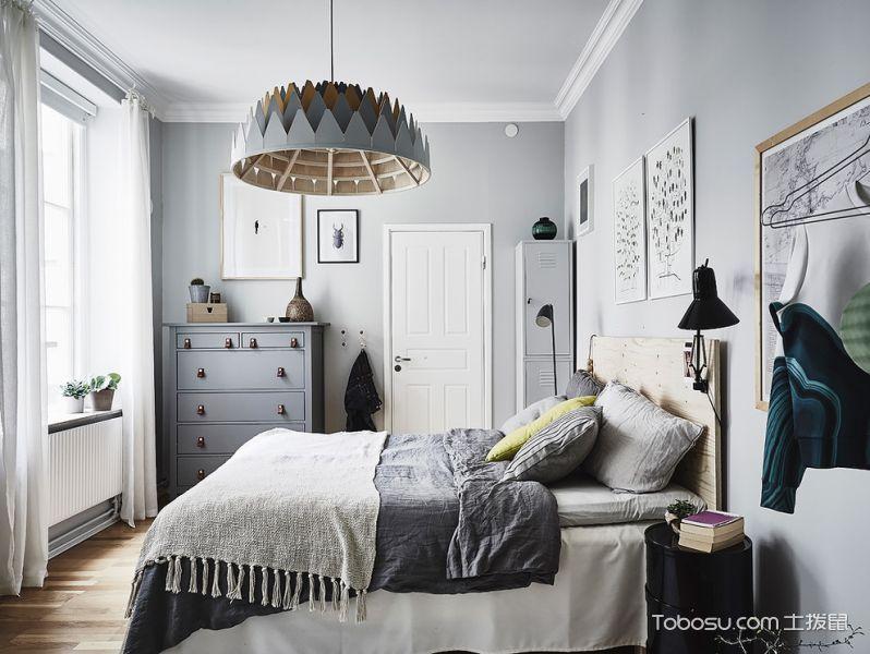 卧室白色照片墙北欧风格效果图