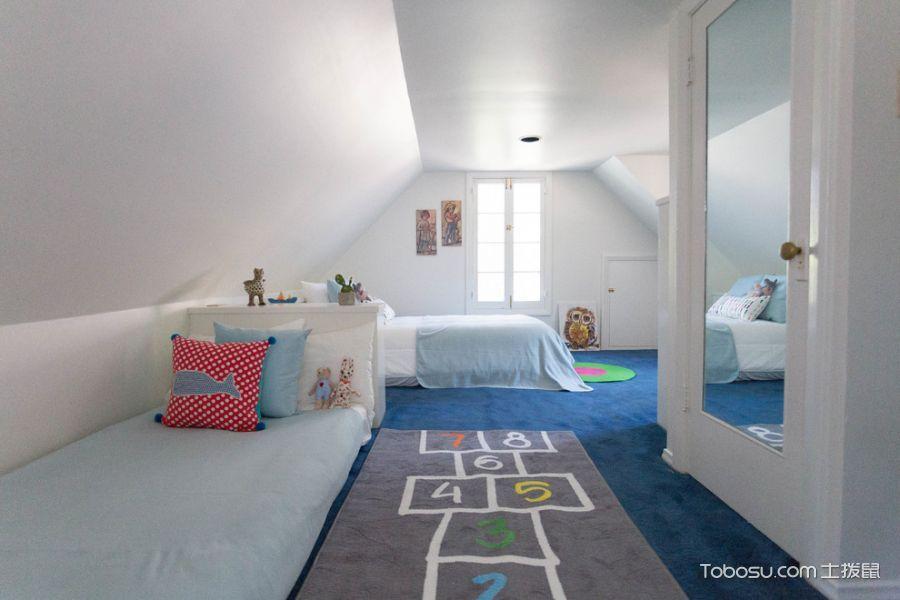 儿童房白色背景墙地中海风格装修图片