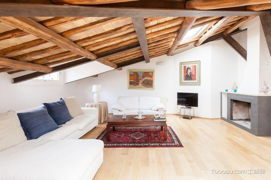客厅黄色阁楼现代风格装潢设计图片