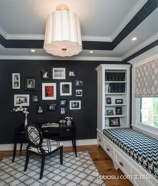书房黑色书桌美式风格装潢图片