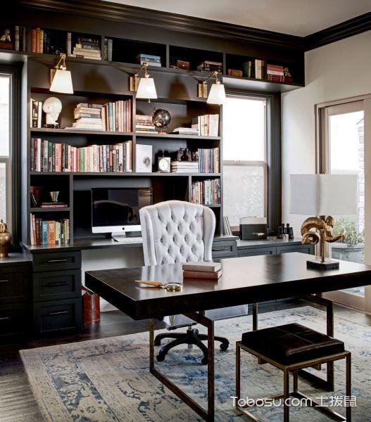 书房80平方米复式混搭风格效果图大全2017图片