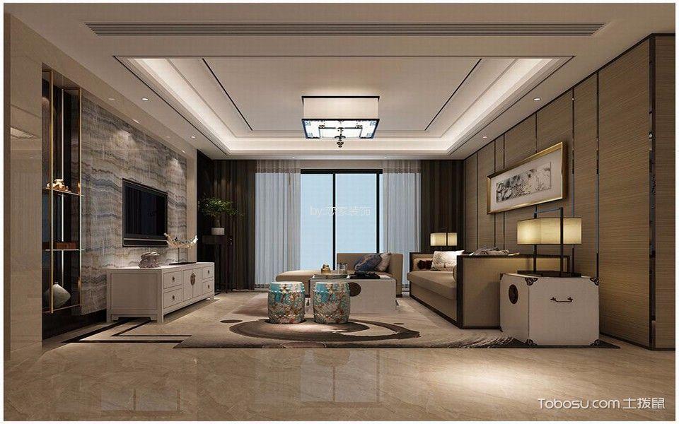 扬州天下140平方三居室现代中式风格装修效果图