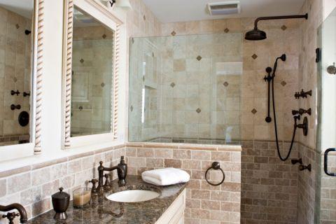 浴室地中海风格效果图大全2017图片_土拨鼠温暖雅致浴室地中海风格装修设计效果图欣赏