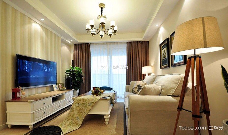鲁能九龙花园94平美式风格三居室装修效果图