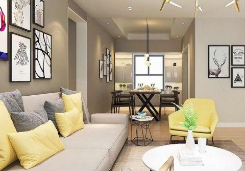 客厅咖啡色沙发简约风格装潢效果图