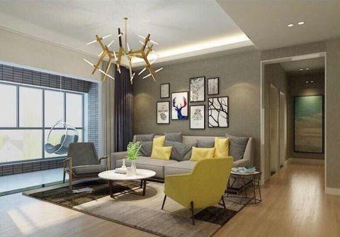 客厅咖啡色照片墙简约风格装饰图片