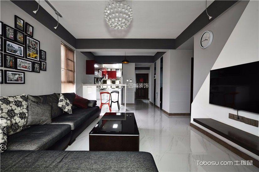 客厅黑色背景墙简约风格装潢效果图