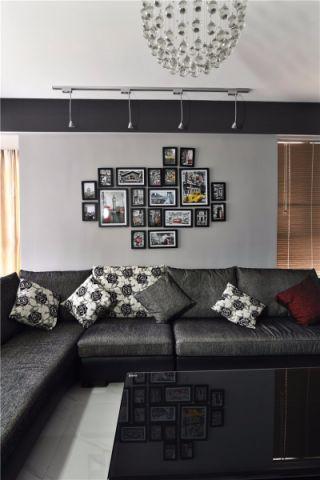 客厅黑色茶几简约风格装潢图片