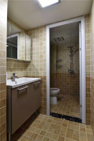 卫生间米色洗漱台简约风格装潢设计图片