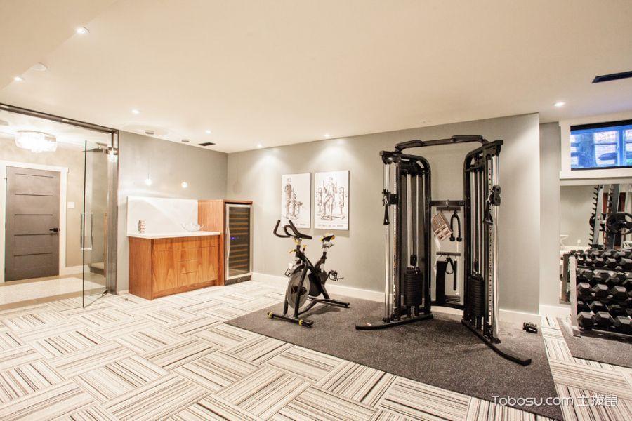 健身房米色背景墙现代风格装修图片