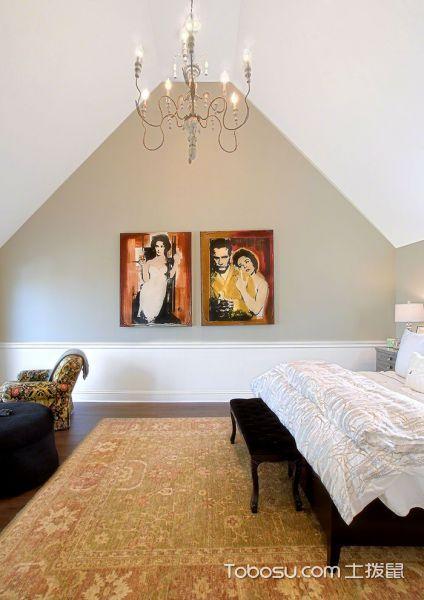 卧室绿色照片墙混搭风格装修图片
