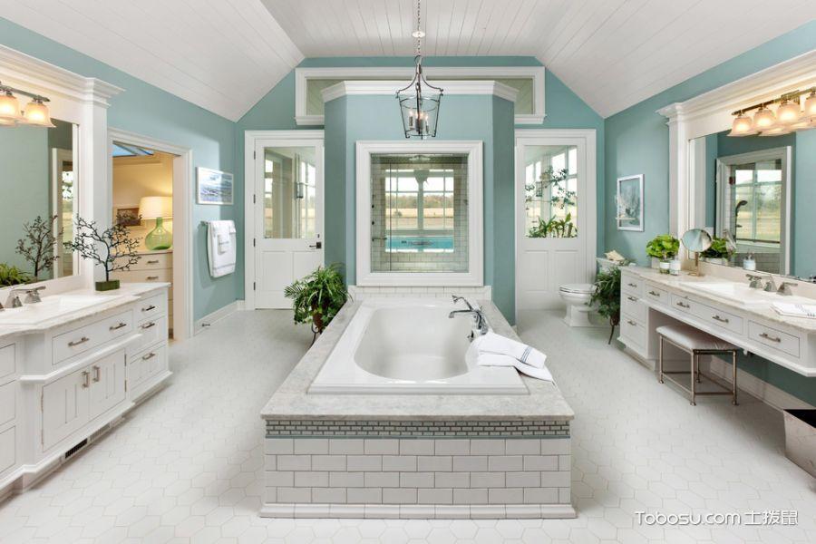 浴室白色地砖美式风格装潢效果图