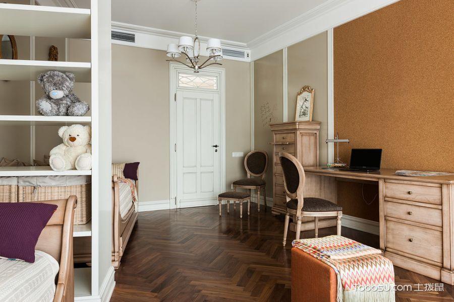 儿童房咖啡色地板砖美式风格装修图片