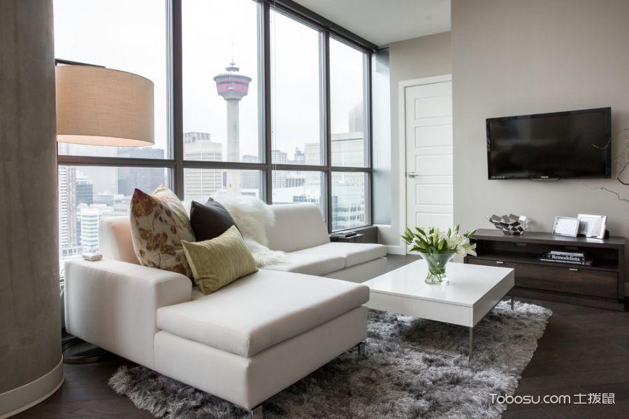 客厅白色窗台现代风格装修设计图片