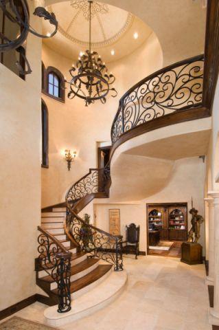 楼梯地中海风格效果图大全2017图片_土拨鼠干净淡雅楼梯地中海风格装修设计效果图欣赏