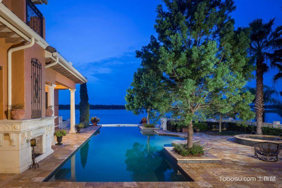 花园蓝色泳池地中海风格装饰图片