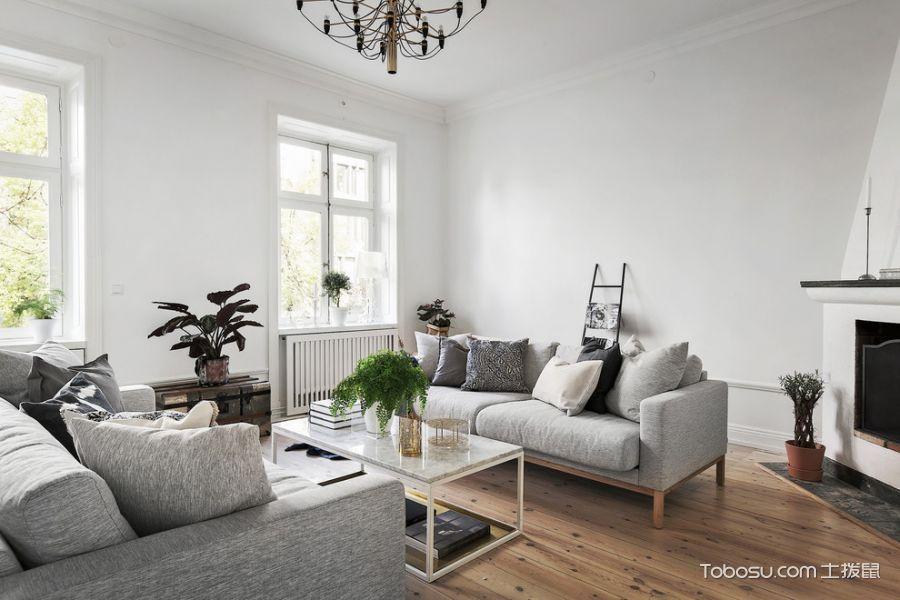 客厅灰色沙发北欧风格装潢效果图