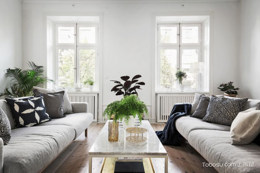 客厅白色茶几北欧风格装潢设计图片