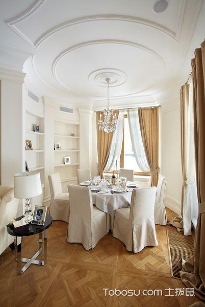 餐厅黄色窗帘美式风格装饰效果图